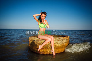 Brunette poses on rock at the beach in bikini